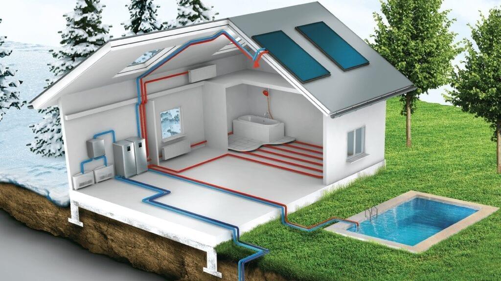 тепловой насос установлен в доме с бассейном